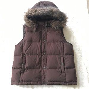 Gap Chocolate Brown Hooded Down Vest